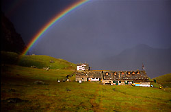 A beautiful rainbow at the Vittorio Sella Hut